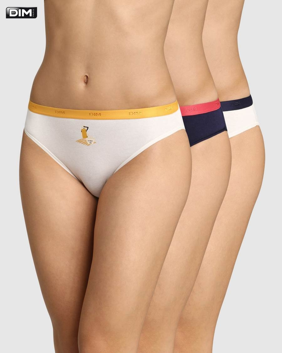 Pack 3 Braguitas Bikini Algodon Dim